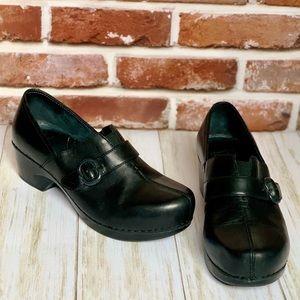 DANSKO Black Leather TAMARA Side Buckle Clogs 39